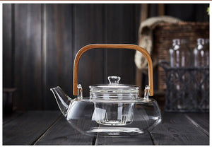 Bamboo Handle 800ml Blooming Tea Pot with Glass Strainer