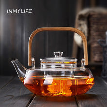Load image into Gallery viewer, Bamboo Handle 800ml Blooming Tea Pot with Glass Strainer