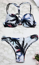Load image into Gallery viewer, Leaf Print Halter Bikini Swimsuit