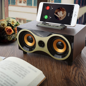 TOPROAD Portable Wooden Wireless Bluetooth Speaker for iPhone Android