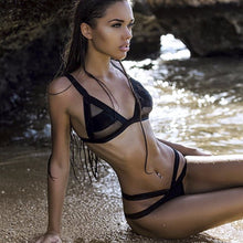 Load image into Gallery viewer, Mesh Patchwork Transparent Bikini Set