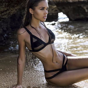 Mesh Patchwork Transparent Bikini Set