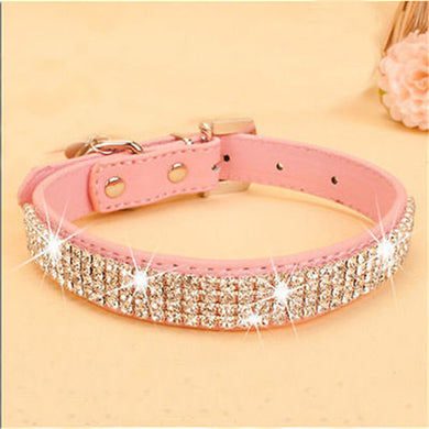 Bling Rhinestone PU Leather Crystal Diamond Puppy Collar