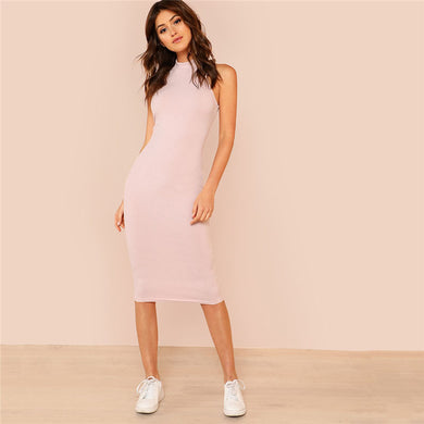 Pink Mock Neck Rib Knit Plain Pencil Dress