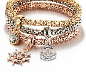 3Pcs Gold Color Crystal Owl Charm Bracelets For Women