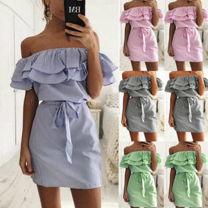 Off Shoulder Strapless Striped Ruffles Dress