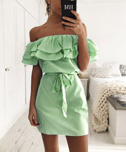Load image into Gallery viewer, Off Shoulder Strapless Striped Ruffles Dress
