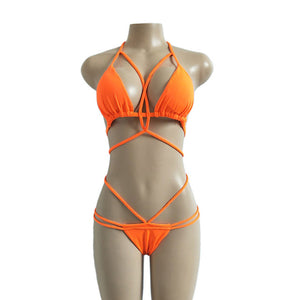 Solid Bandage Push Up Bikini Set