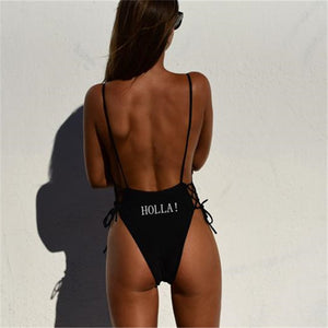 CINOON New Women High Cut One Piece Backless Swimsuit