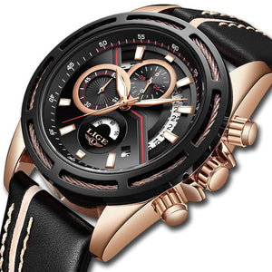 Relogio LIGE Luxury Men's Casual Leather Watch