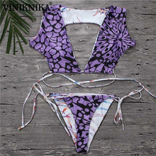 Load image into Gallery viewer, New Summer Beach Print Tether Low Waist Bikini Set