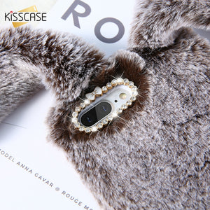 KISSCASE Rabbit Ears Furry Phone Case For iPhone