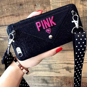 New Luxury Glitter PINK Embroidery Leather Case For iPhone