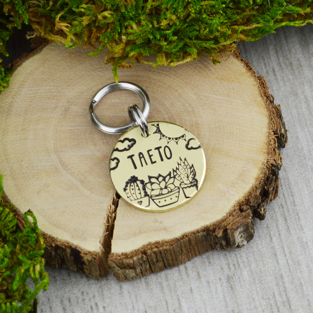 Succulents Mini Pet ID Tag