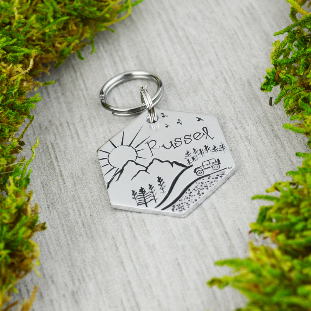 Trek Through the Mountains Pet ID Tag