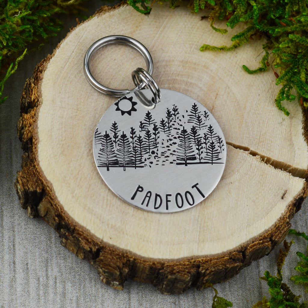 Hiking Through The Trees Pet ID Tag