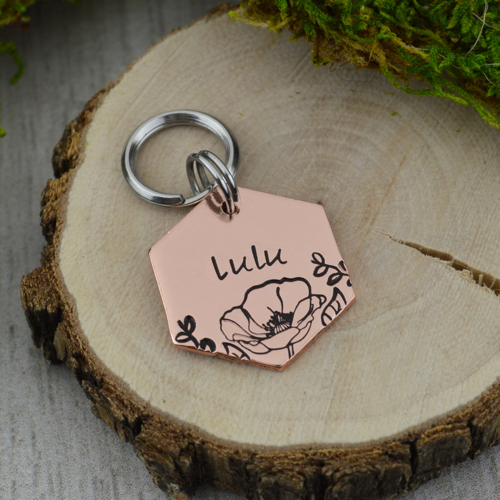 Field of Poppies Mini Pet ID Tag
