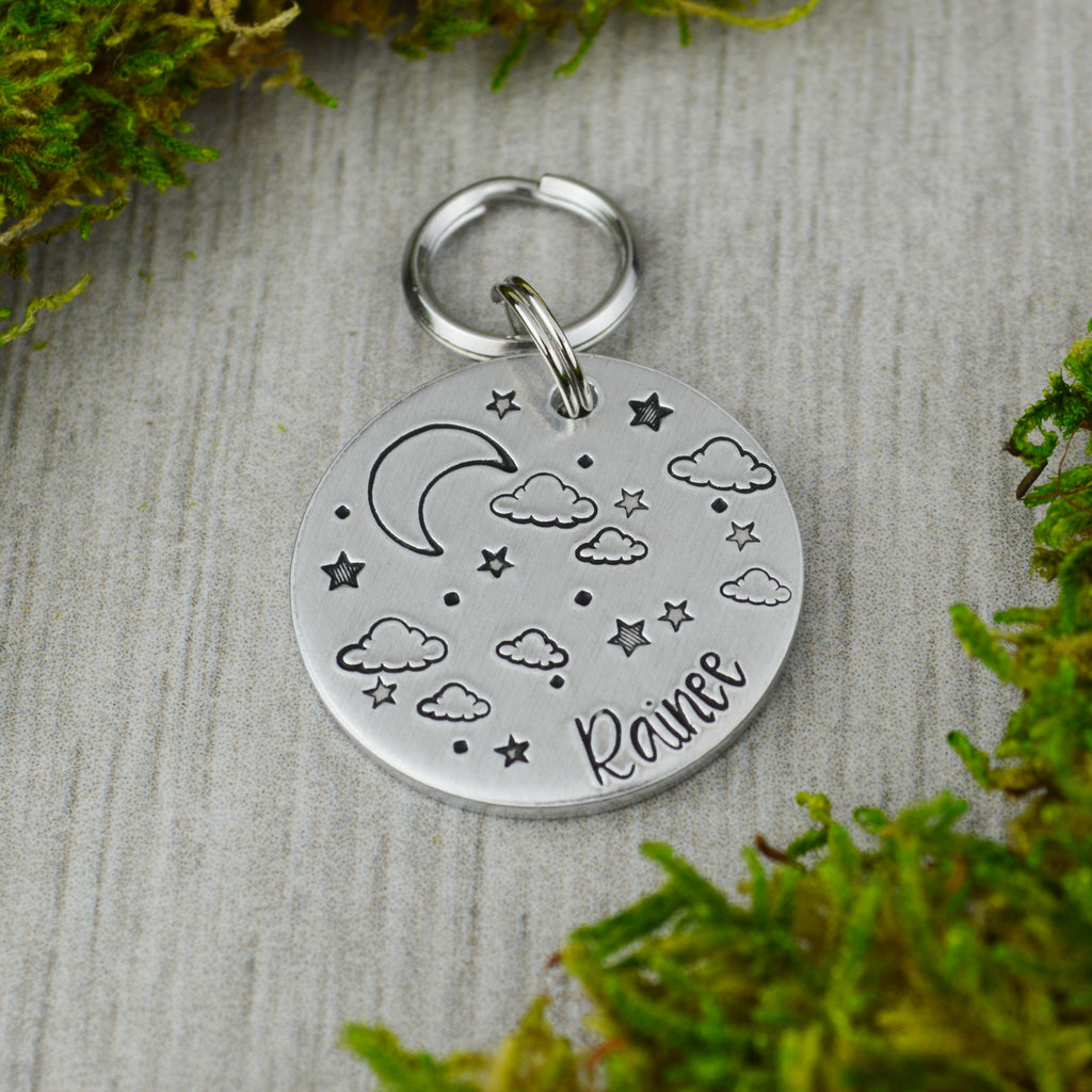 Cloudy Night Pet ID Tag