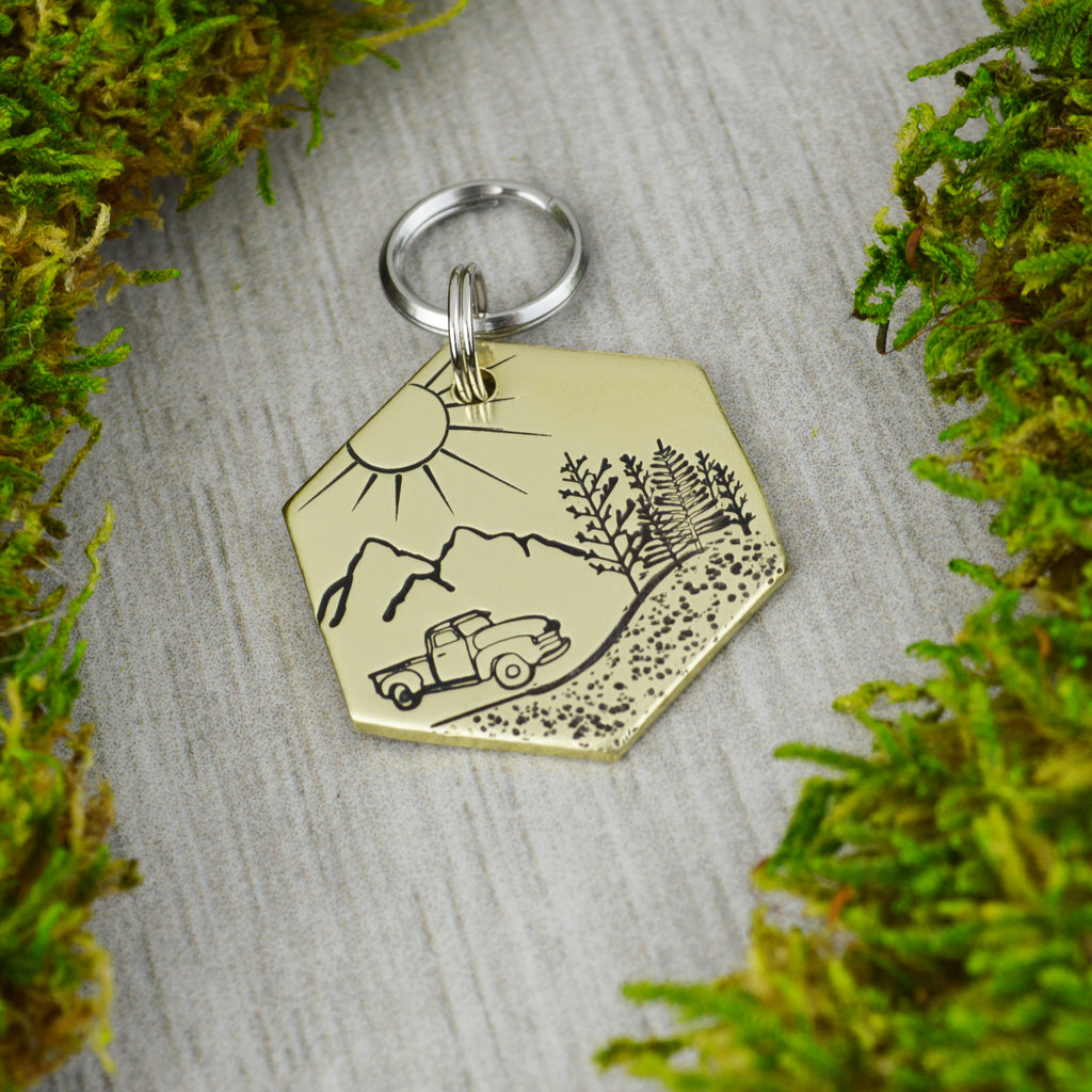 Drive Through the Mountains Pet ID Tag
