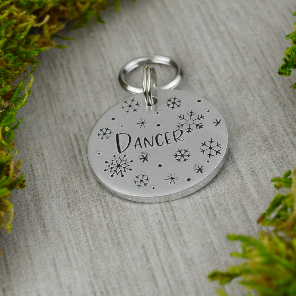 White Christmas Pet ID Tag