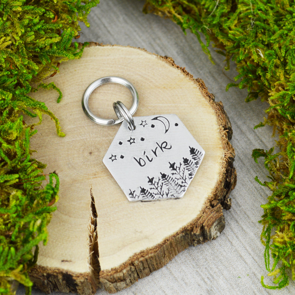 Wilderness At Night Mini Pet ID Tag
