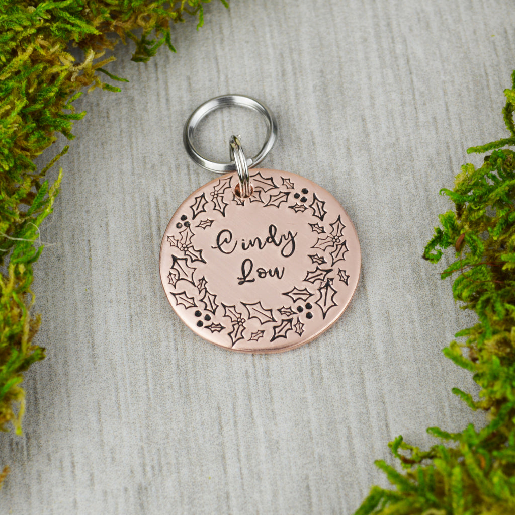 Wreath of Holly Pet ID Tag