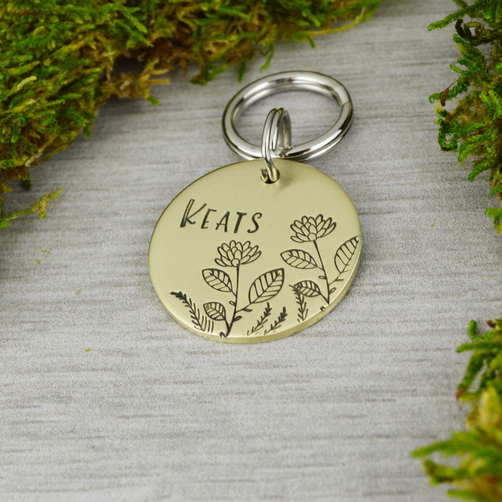 Peony Blooms Pet ID Tag