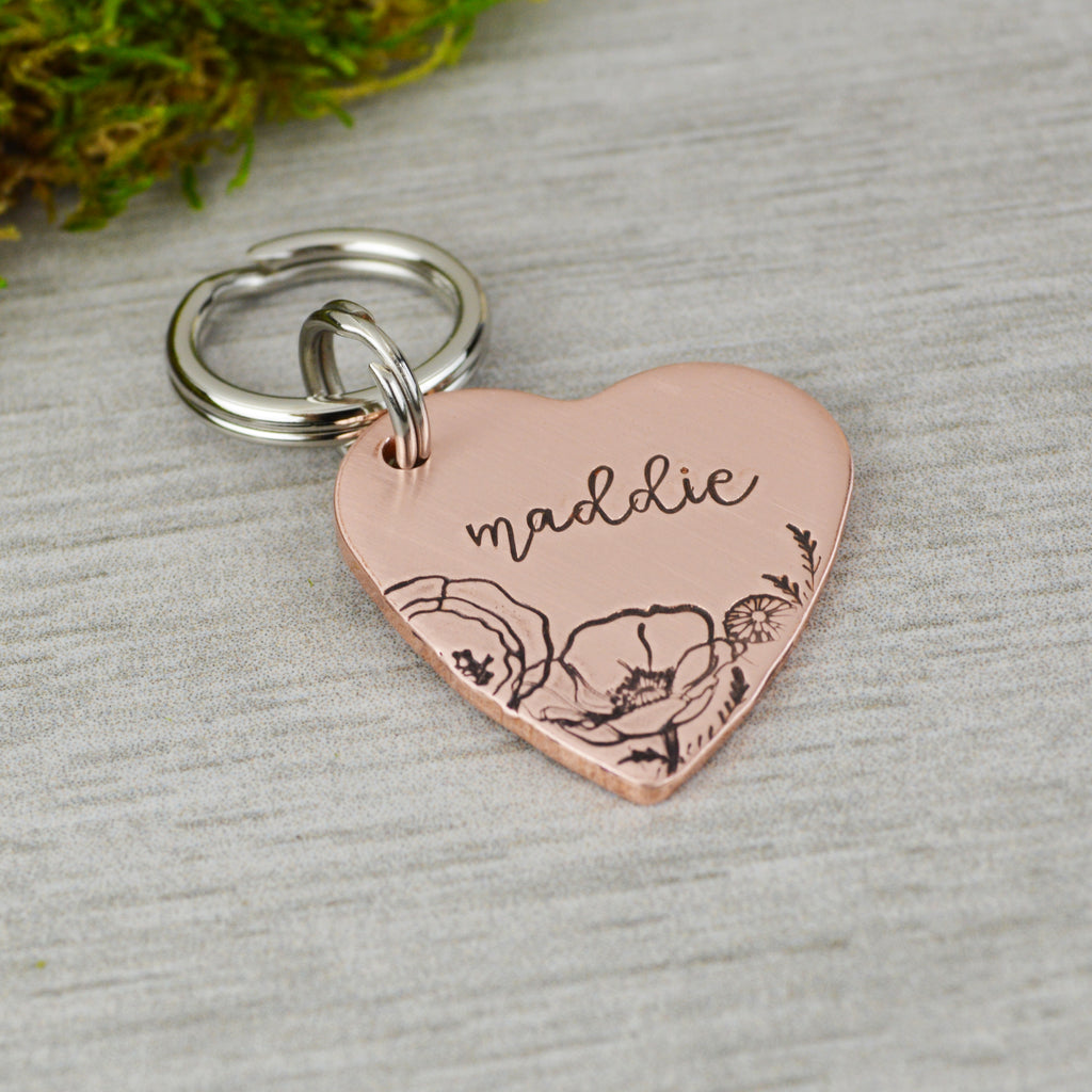 Spring Poppies Pet ID Tag