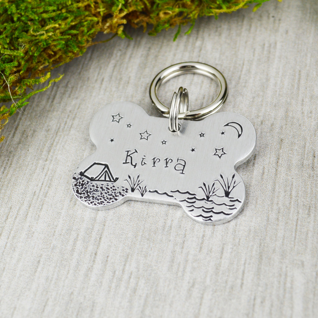 Camping By The Lake Pet ID Tag