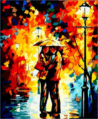 Couple Under Umbrella 40cm x 50cm