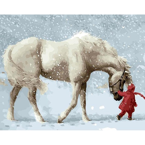 Walking Horse In Snow 40cm x 50cm
