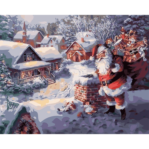 Santa Delivering Presents 40cm x 50cm