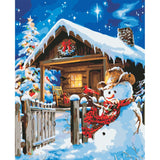 Christmas Snowman On A Clear Night 40cm x 50cm