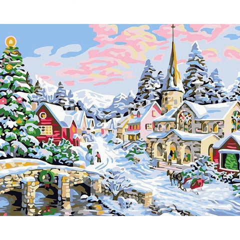 Winter Christmas Village 40cm x 50cm