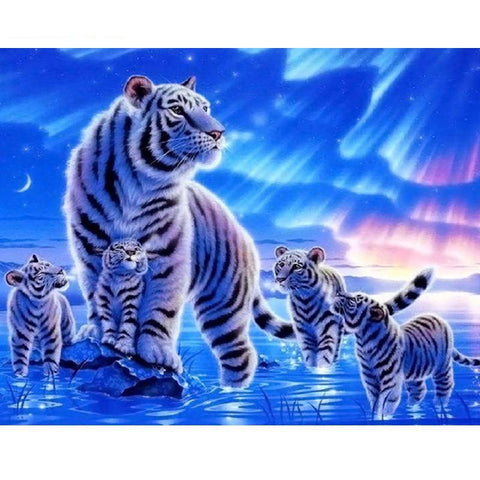 Tiger & Four Cubs 40cm x 50cm