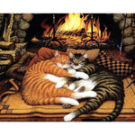 Cats In Front Of The Fire 40cm x 50cm
