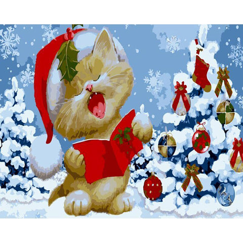 Cat Singing Christmas Carols 40cm x 50cm