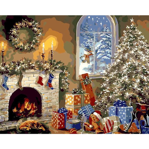 Christmas Fireplace 40cm x 50cm
