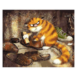 Naughty Cat Collecting Shoes 40cm x 50cm