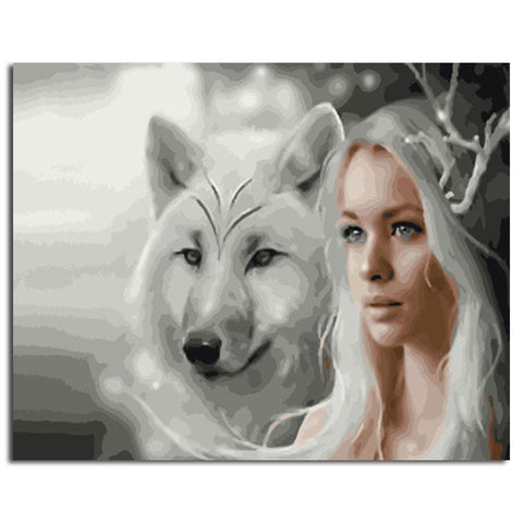 Wolf & White Haired Lady 40cm x 50cm