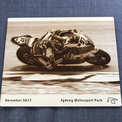Wooden Photo Engraving (Motorcycle Race Track)