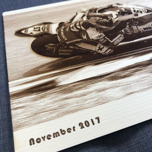 Wooden Photo Engraving of Your Track or Race Day (Motorcycles) - Wilson-Made