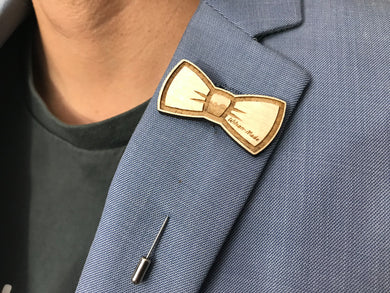 Lapel Pin (Bow-Tie) with Custom Engraving - Wilson-Made