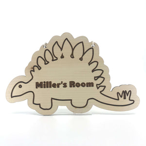 Personalised Wooden Stegosaurus - Custom Engraved Wall or Door Ornament for Kids - Wilson-Made