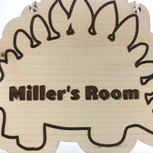 Load image into Gallery viewer, Personalised Wooden Stegosaurus - Custom Engraved Wall or Door Ornament for Kids - Wilson-Made