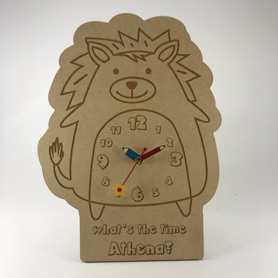 Hanging Clock (Cute Spunky Lion) with Custom Engraving - Wilson-Made