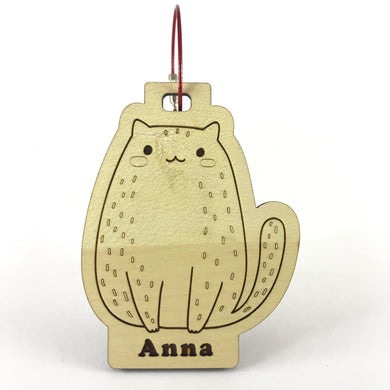 Luggage Tag (Cute Cat) with Custom Engraving - Wilson-Made