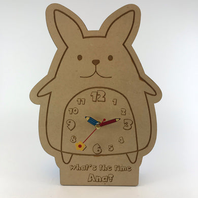 Kids Hanging Clock (Cute Rabbit) with Custom Engraving - Wilson-Made
