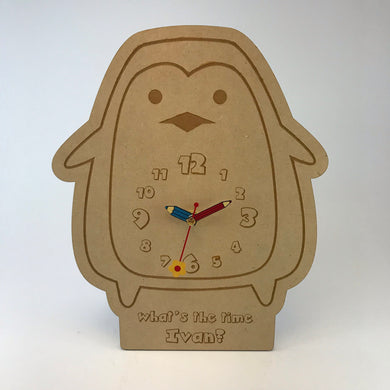 Kids Hanging Clock (Cute Penguin) with Custom Engraving - Wilson-Made