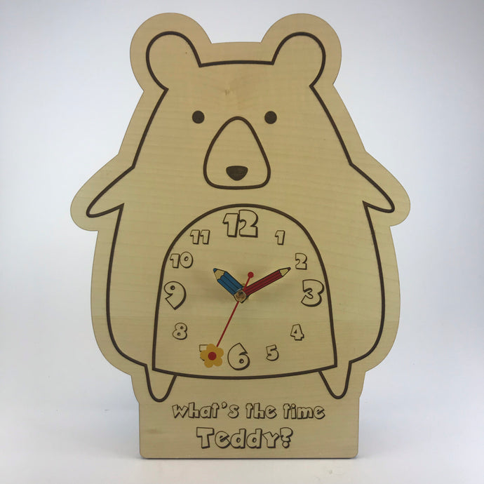 Kids Hanging Clock (Cute Bear) with Custom Engraving